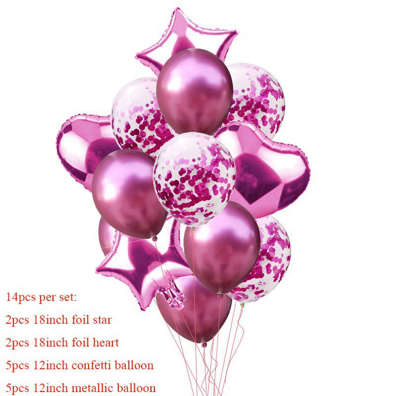 Latex Birthday Party Decor Foil Balloons Set Confetti Balloon Star Heart