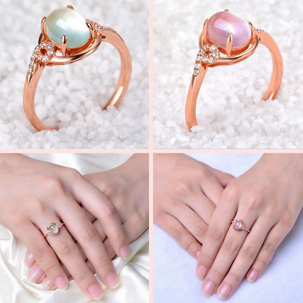 Wedding Adjustable Women Opal Rings Gold Plated Rose Crystal Pink ...