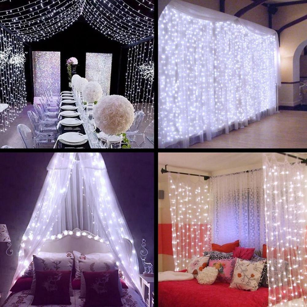 50//100//200 LED Curtain Fairy Lights Indoor//Outdoor Wedding Party Christmas Garde