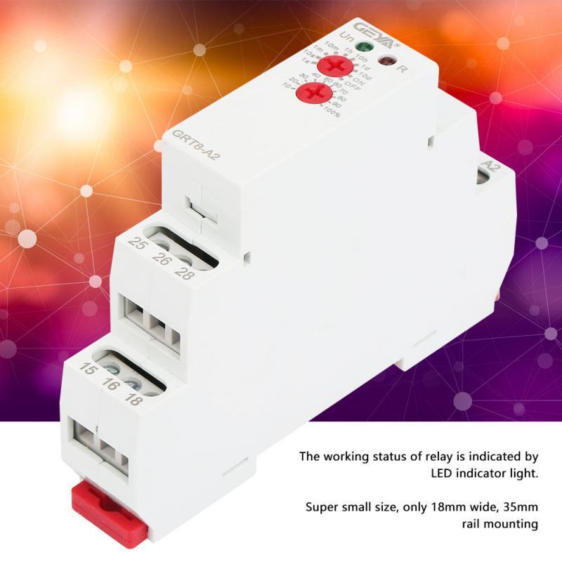 Rel/é temporizador autom/ático GRT8-A2 AC230V 230V AC//DC 12V-240V Rel/é de tiempo de carril Din de una sola funci/ón