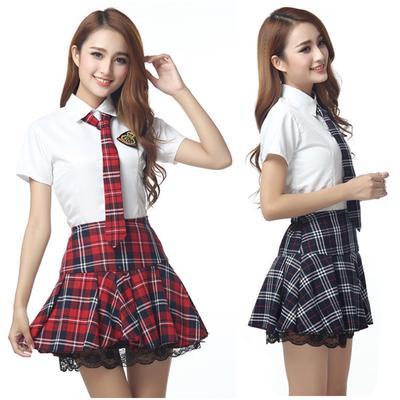 Women Lady School Girl Uniform Costume Fancy Dress Cosplay Shirt Plaid Skirt Tie