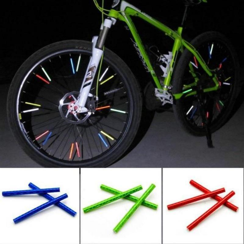 Bicycle Wheel Spoke Reflector Reflective Mount Clip Tube Warning Strip 12pcs 2/_7