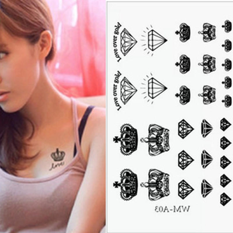 10 Arkuszy Lot Moda Korona Tatuaż Tatuaże Flash Inspired Tatuaż Tymczasowy 1 Arkusz Tatuaż Nowy