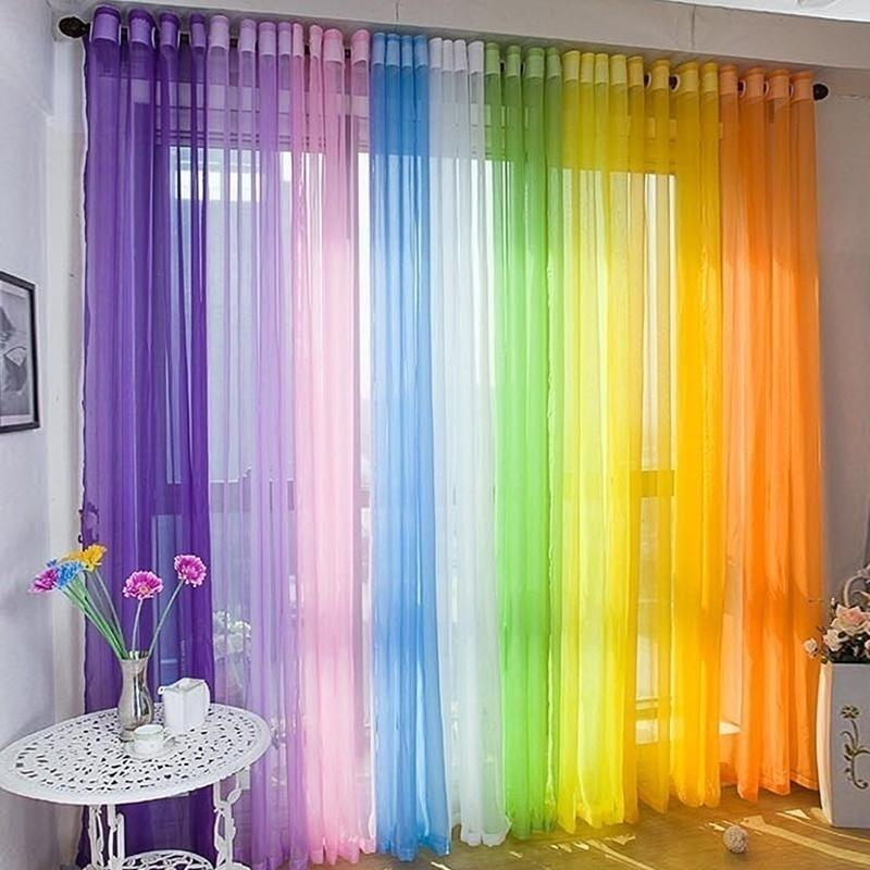 Sheer Voile Window Curtains Drape Panel Scarf Floral Tulle Valance Home Decor