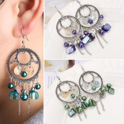 Jewelry Women Drop Earrings Natural Stone Shell Round Beads  Long Chain Tassel
