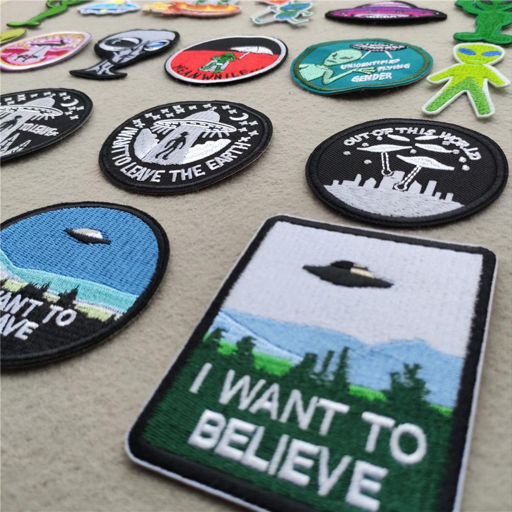 ALIEN SPACESHIP Small Embroidered Iron On Sew On Patch