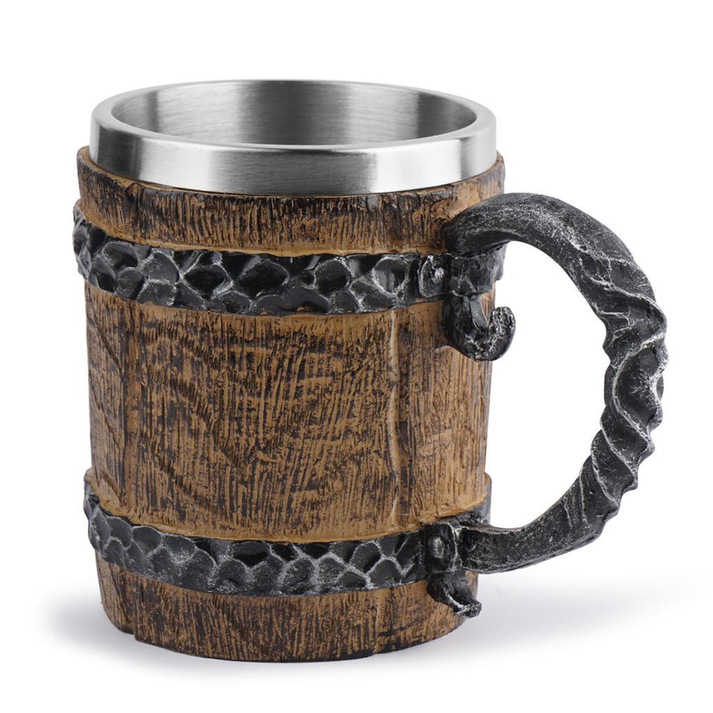 500ml Viking Beer Mug Wood Double Wall Drinking Mug Metal Insulated