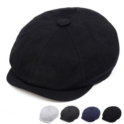 Men's Newsboy Hat Beret Unisex Cotton Hat Gatsby Octagon Lady Retro Winter Duckbill Hat Fashion