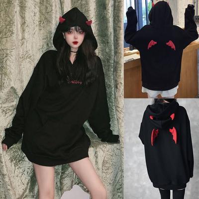 Suda Women Halloween Contrast Pocket Oversized Hoodie Sweatshirt Blouse Tops