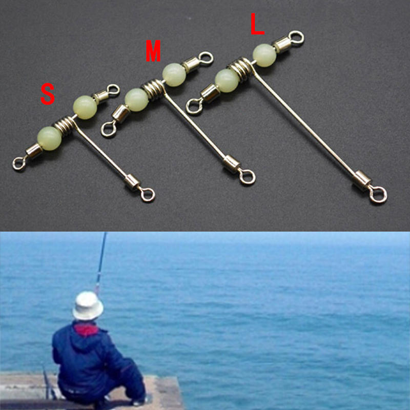 3 way connector rolling swivel with pearl  T-shape fishing swivels luminous