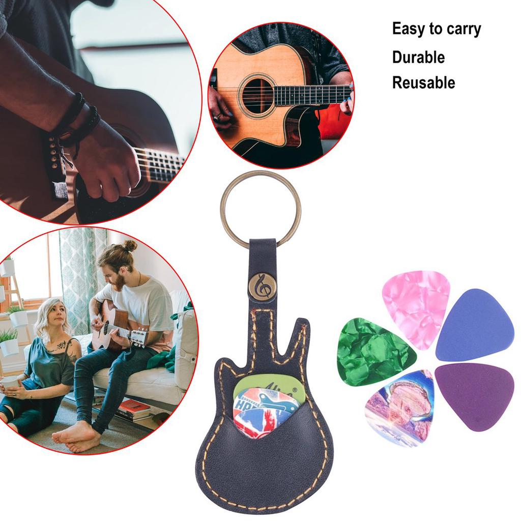 CloverUS Key Ring Leather Paddles Package Case Holder For Guitar Picks With 5 Paddles