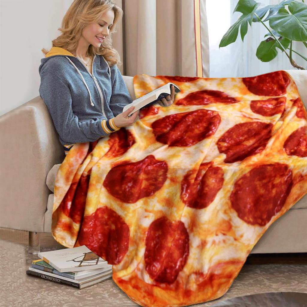 Comfort Food Pizza Wrap Blanket Round Creative Hamburger Throw Fleece Blanket