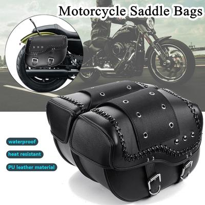 Route 66 Large Motorcycle Biker Leather Tool Bag Barrel Roll