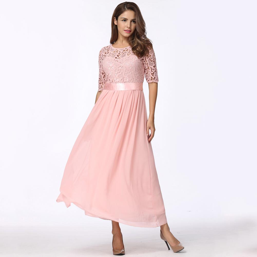 Las mujeres de encaje de gasa vestido largo Maxi Slim elegante noche ...