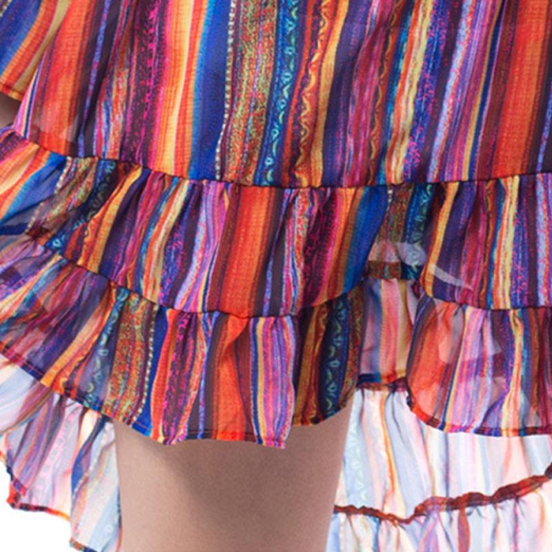 Arco iris rayado hombro frío Slip vestido colmena de la gasa ...
