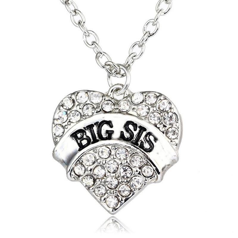 Fashion Pink Big Litter Sister Mom Crystal Heart Necklace Pendants Mother Daughter Jewelry For Family Gifts 1pcs