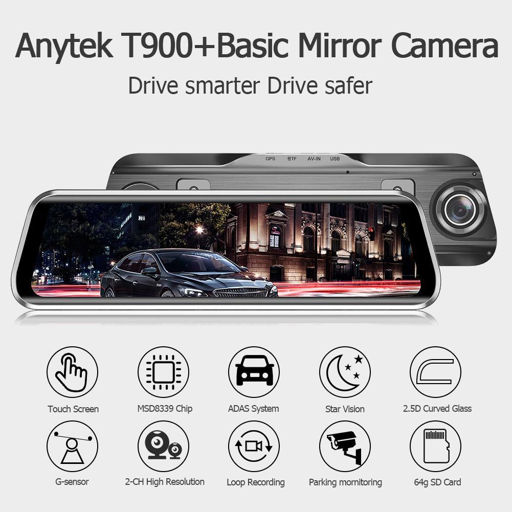 KKmoon Anytek T900 9.66 Inch 1080P Full Screen Dash Cam Recorder with G-Sensor WDR ADAS Back-Pull Car DVR Camera Car Rearview Mirror Monitor