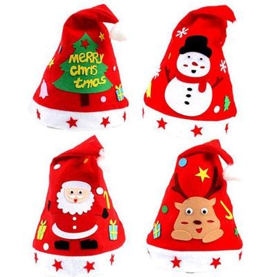 10 Felt Santa Hats Christmas Non-woven Hat for Holiday Christmas Xmas Red