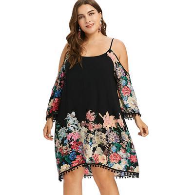 75e7f2f9444 Плюс размер печати случайный холодной плечо женщин одежда Весна спагетти  ремень платье Vestidos