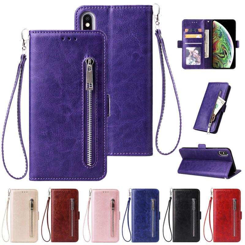 Молния карты случай бумажник телефон чехол премиум кожаный стенд телефон чехол для Samsung A70 S10 Plus S10e