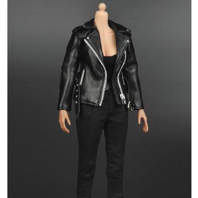 1//6 Female Body PU Leather Coat Belt Neck Collar for 12inch HT Action Figure