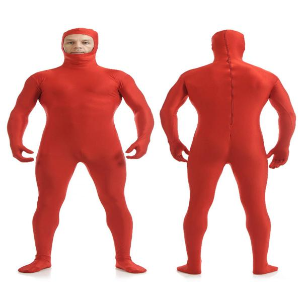 Red Festival Stag Night Fun Full Body Lycra Skin Tight Fancy Dress Party Suit