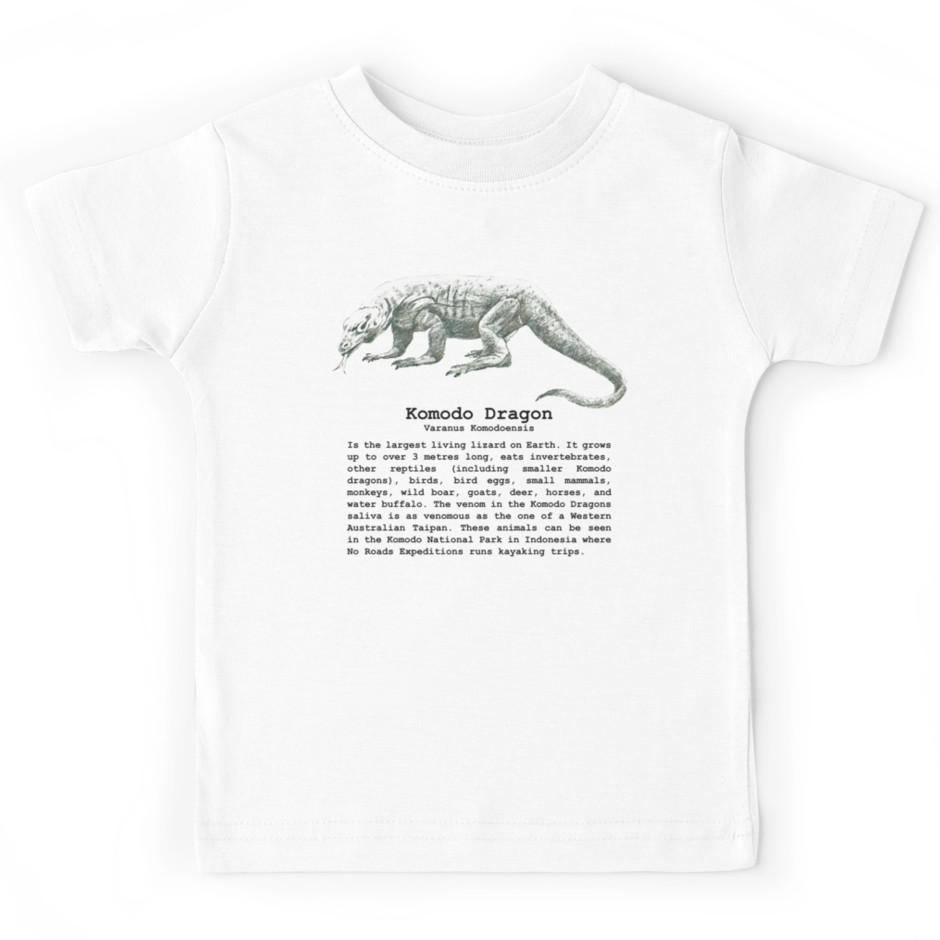 Komodo Dragon Kid/'s T-Shirt Children Boys Girls Unisex Top