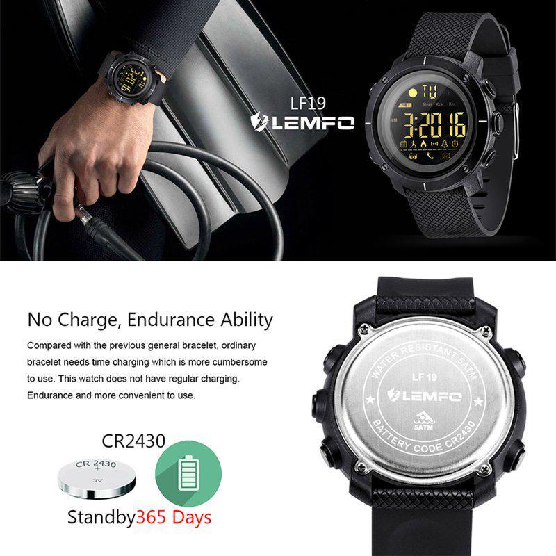 LEMFO LF19 Smart Watch Waterproof Men Women Wearable Passometer ... bbec53a4dc