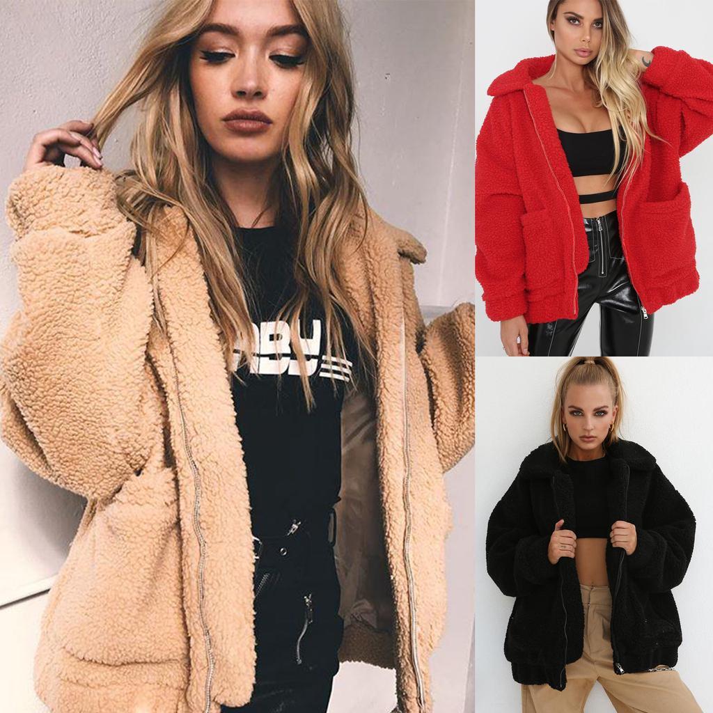 Женщины Faux меховой пальто Толстый Теплый Куртка Рунс Плюш Тедди Streetwear Осень Зимние Outwear – купить по низким ценам в интернет-магазине Joom