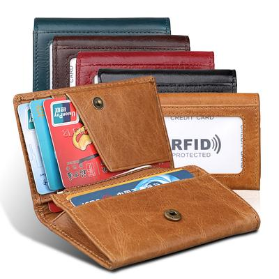 Ladies Oil Waxed Leather Multi Pockets Purse Wallet Coin Holder ID Card Holder