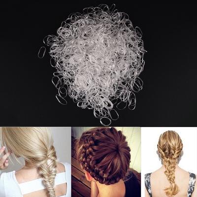 300PCS Transparent  Rubber Braiding Hair Band Hairope Elastic Ponytail HoldersOQ