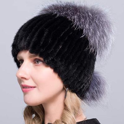 55d35b085d0 fashionable Warm Real Natural Mink Fur Hat Female Mix Color Sliver Fox  Women Winter Hats Double