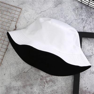Double-sided Wear Visor Cap Bucket Hat Solid Color Men and Women Cotton Sun Hat Flat Hat Fisherman Bucket Hat Cap