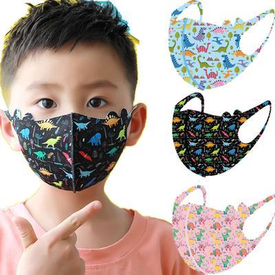 Cartoon Dinosaur Pattern Children Mask for Boys Girls Cotton Washable Face Mask