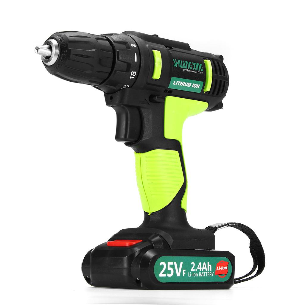 25V 2-Speed Electric Cordless Impact Drill 3//8/'/' Driver Screwdriver 2 Batteries