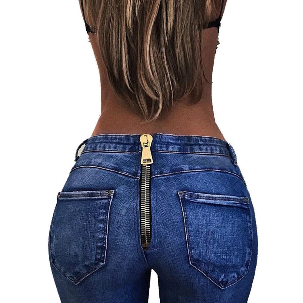 3dd5cabe02 Moda mujer pantalones de cintura alta espalda cremallera lápiz ...