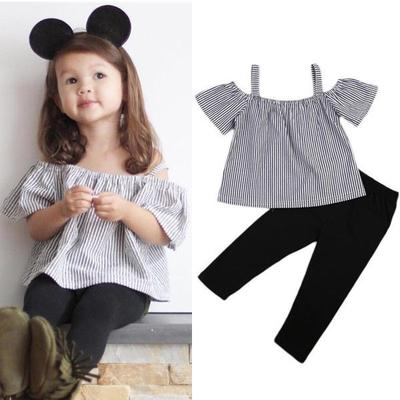 0daa1593444 AU Toddler Baby Girl Kids Off Shoulder Romper Tops T-Shirt Pants Long  Outfits