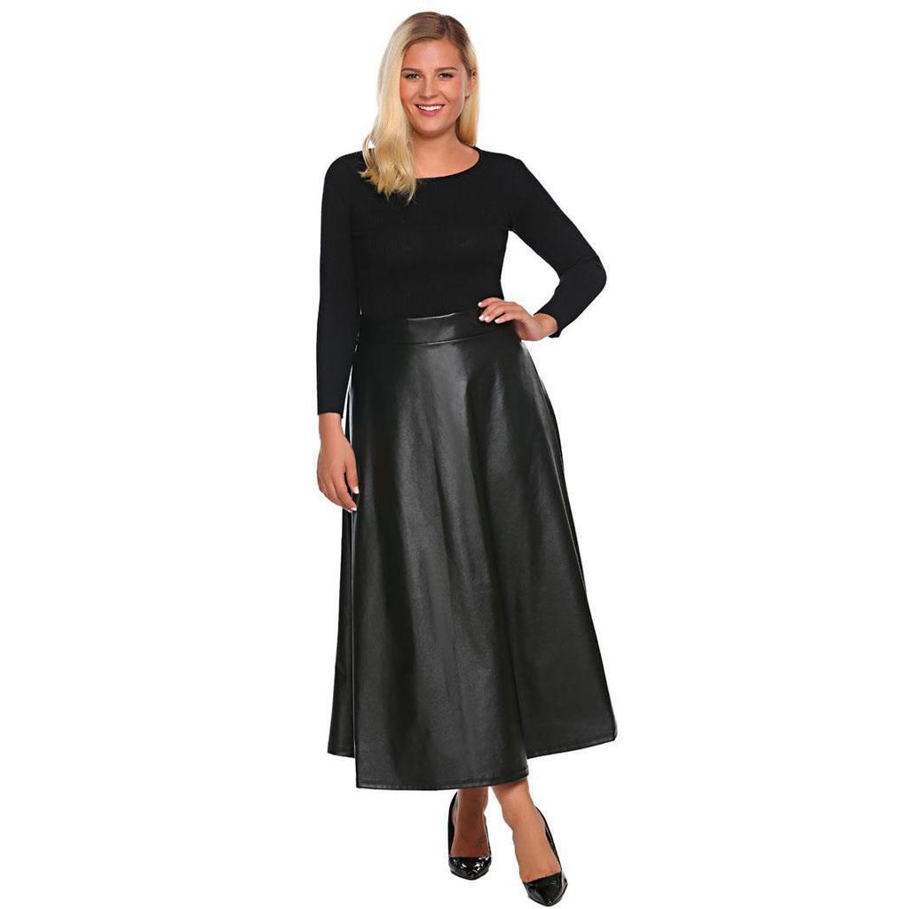 92bbf4d3ca Women Plus Size Synthetic Leather High Waist Flared A-Line Maxi Long ...