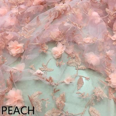b9cb1b0f0d8 Кружевной ткани 3D цветок цветочные сетка вышитые DIY ремесло платье  материала для новобрачных свадебное 7 цвет