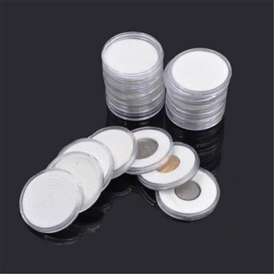 10Pcs 26mm plastic round applied clear cases coin storage capsules holder OS