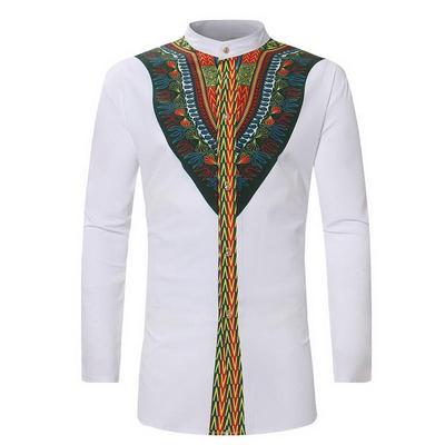 3e5902b8 LASPERAL Vintage Men Ethnic Print Top Tees Long Sleeve Stand Collar African  Print Dashiki Shirt
