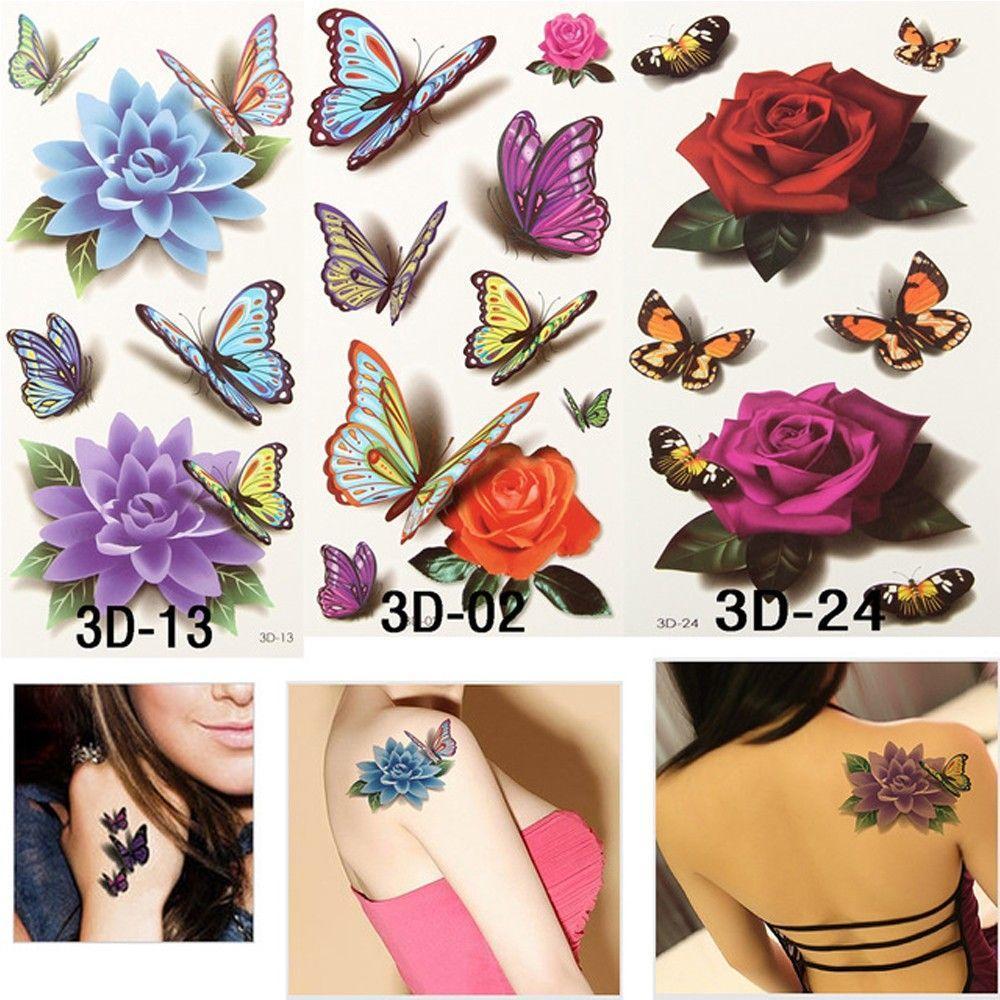 Tagi Sztuki Wodoodporna Róża Kwiat Naklejki Tymczasowy Tatuaż Motyl Kształt Naklejki Tatuaże Ciała
