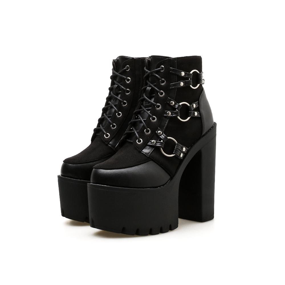 Details about  /Boots Women Motorcycle Shoes Platforms Ankle Boots Lady Lace Up Platforms Wedges