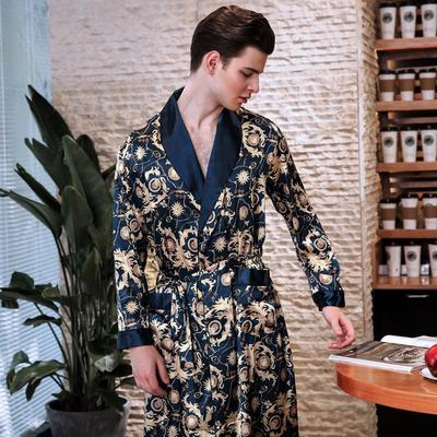 cffe833bee Autumn Men Luxury Smooth Satin Faux Silk Bathrobes Male Kimono Mens  Sleepwear Pajama Sleeping