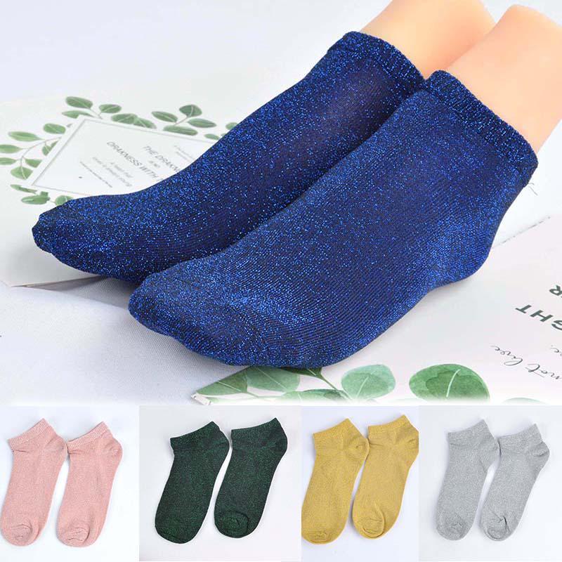 Женщины блеск блестящая носки короткие носки Harajuku чистый цвет женские короткие носки для женщин девушек фото