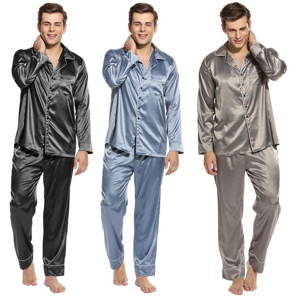 Ekoua Mens Long Sleeve Solid Slim Sleepwear Contrast Color Turn Down Collar  Nightwear Pajamas Set-buy at a low prices on Joom e-commerce platform 85c0a5d19