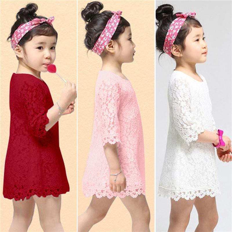 Vestido de fiesta bebé niña Princesa media manga hueco vestidos flor ...