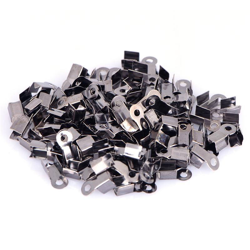 100PCS End Caps Clasps Leather Cord Crimp Bead Connectors DIY Jewelry Findin ES