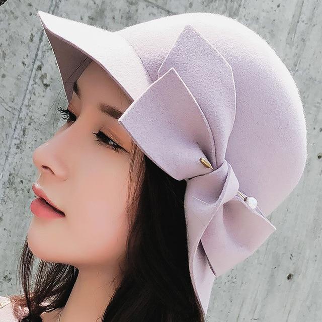 98f09810f72cc Winter Elegant Wool Fedoras Hat Female Dome Brim Fold Bow Felt Hats ...