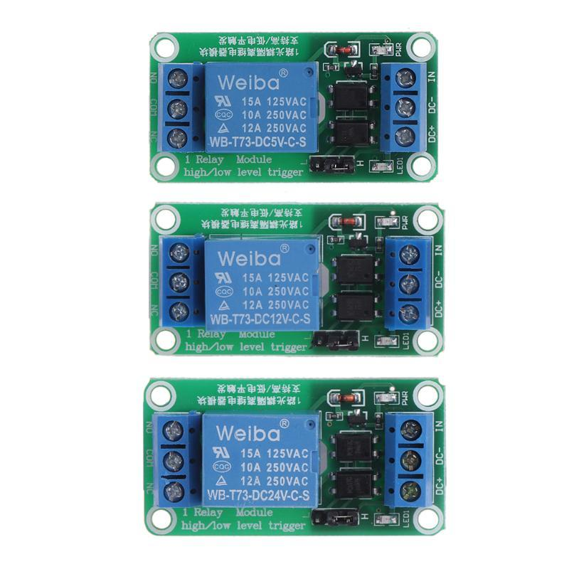 Channel relay module 5/12/24v 1 channel relay module optocoupler high and  low level trigger